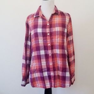 Old Navy Tops - Old Navy Classic Shirt Pink Purple Plaid